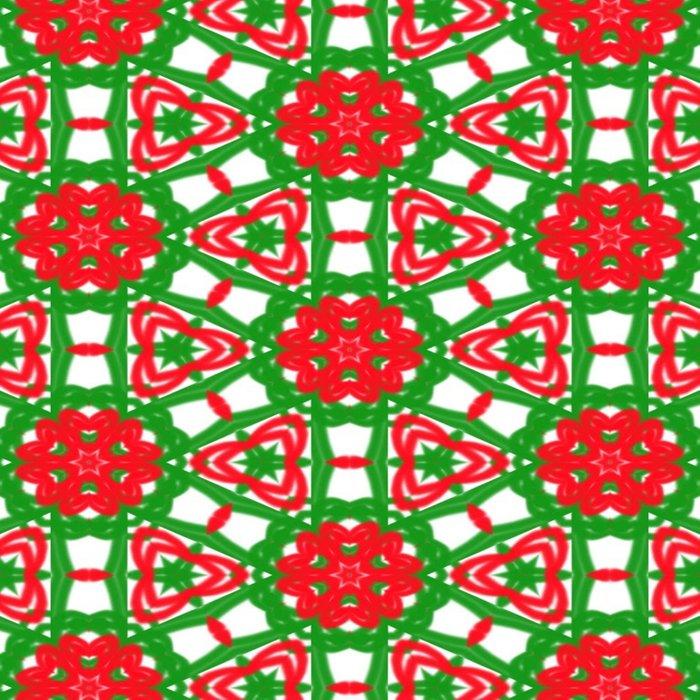 Red, Green and White Kaleidoscope 3372 Duvet Cover