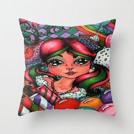 Sweet Sugar Shock Girl Throw Pillow