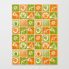 Microscopic Life Sillouetts Orange and Green Canvas Print
