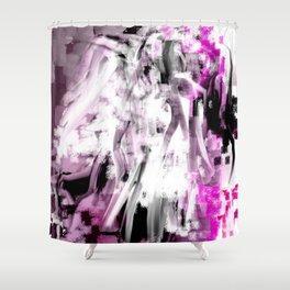 Abstract Angel in Purple, Pink, Black and White Shower Curtain