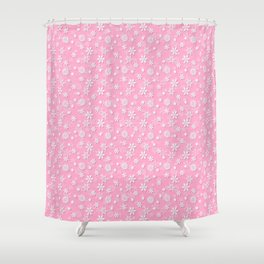 Festive Sweet Lilac Pink and White Christmas Holiday Snowflakes Shower Curtain
