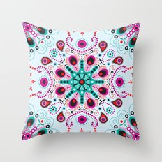 Pointillism mandala   Light blue, red and purple Throw Pillow