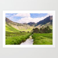 cassia beck Art Prints featuring Warnscale Beck, Buttermere by Graham Prentice