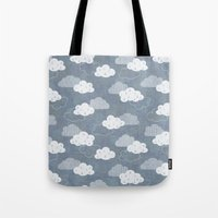 rain Tote Bags featuring RAIN CLOUDS by Daisy Beatrice