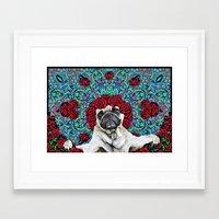 grateful dead Framed Art Prints featuring Grateful Pug by Dark Lord Pug