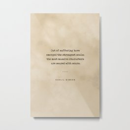 Kahlil Gibran Quote 01 - Typewriter Quote on Old Paper - Minimalist Literary Print Metal Print