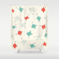 tape Shower Curtains featuring Tape cats by Kitten Rain