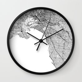 Melbourne White Map Wall Clock