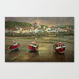Three Red Boats at Staithes Canvas Print