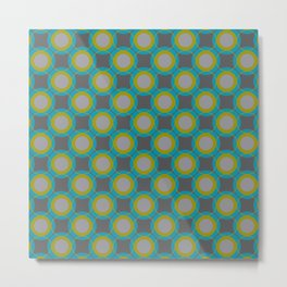Contemporary Circle Pattern Retro Background Gray Turquoise Chartreuse Metal Print
