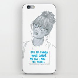 Illustration Zooey Deschanel 'Murder + Pretzels' iPhone Skin