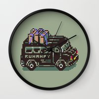 earthbound Wall Clocks featuring Runaway 5 Van - Mother 2 / Earthbound by Studio Momo╰༼ ಠ益ಠ ༽