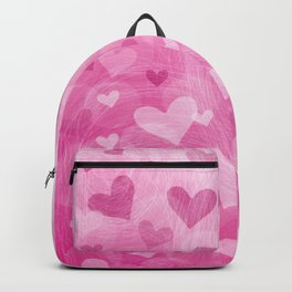 Pink Heart Abstract Backpack