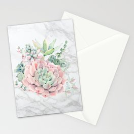 Pink Succulent on Marble by Nature Magick Stationery Cards