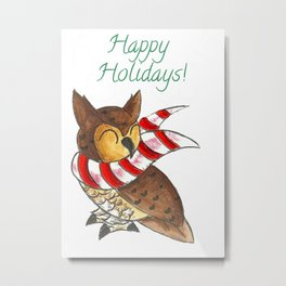 Cozy Christmas Owl Metal Print