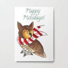 Cozy Christmas Owl Metal Print