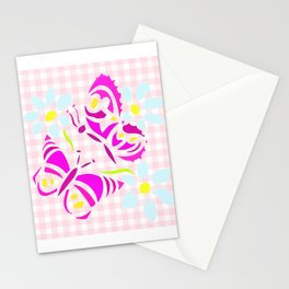 Purple butterfly and flower screen print on gingham Stationery Cards