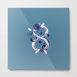 Eight with blue floral Metal Print