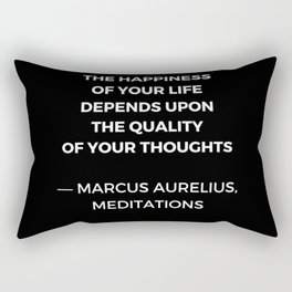Stoic Wisdom Quotes - Marcus Aurelius Meditations - Happiness Rectangular Pillow