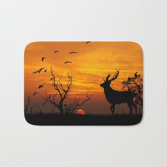 Sunset Deer Silhouette Bath Mat