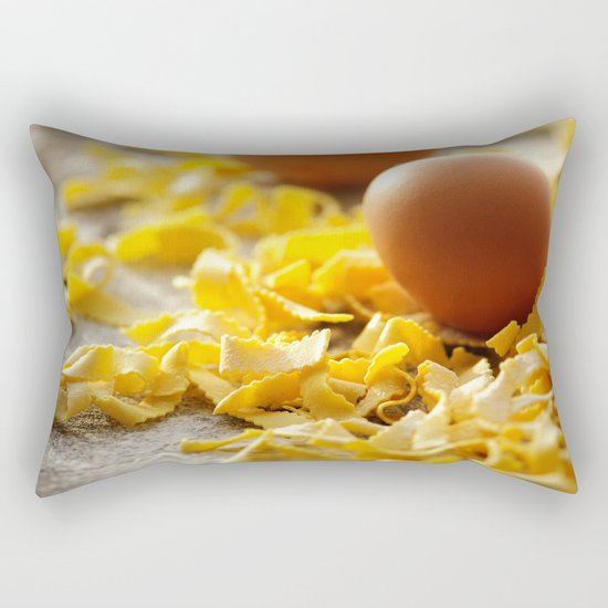 Fresh italian Pasta with egg Rectangular Pillow