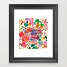 Abstract Watercolour Floral + Fruit Painting  Framed Art Print