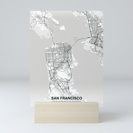 san francisco city map white Mini Art Print