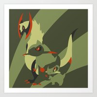 smaug Art Prints featuring Smaug by Citron Vert