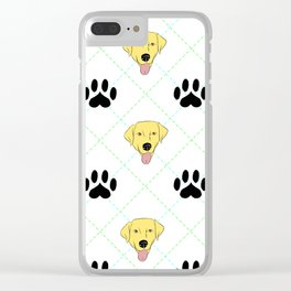 Yellow Lab Paw Print Pattern Clear iPhone Case