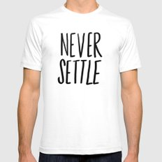 Never Settle White X-LARGE Mens Fitted Tee
