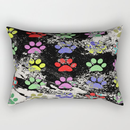 Paw Prints Pattern III - Textured Rectangular Pillow