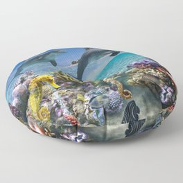 Coral Reef and Dolphins Floor Pillow