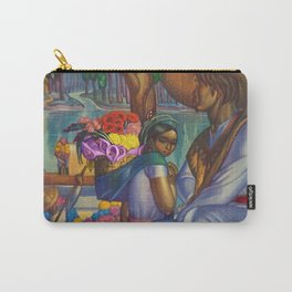 Calla Lily & Sunflower Flower Seller on Aztec Canel of Xochimilco, Mexico portrait painting Carry-All Pouch