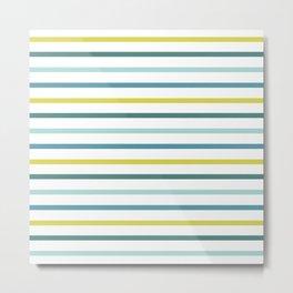 Blue Green Yellow Stripes Metal Print