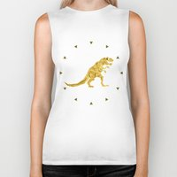 trex Biker Tanks featuring Golden T.Rex Pattern by chobopop