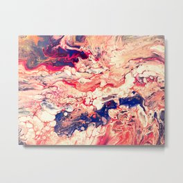 Sea and Blood, Pour Painting Metal Print