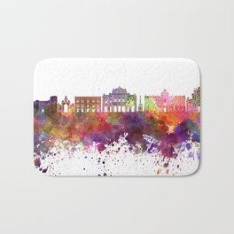 Catania skyline in watercolor background Bath Mat