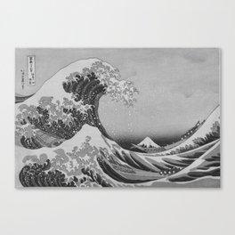 Black & White Japanese Great Wave off Kanagawa by Hokusai Canvas Print