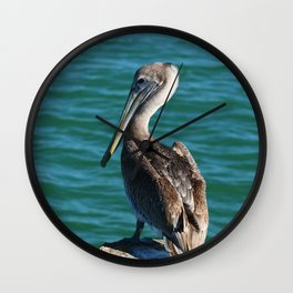 Pelican On A Pole Wall Clock