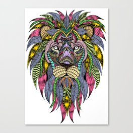 Lion face tangle Canvas Print