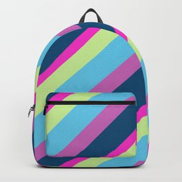 Summer fun Blue pink lime Colorful lines Backpack