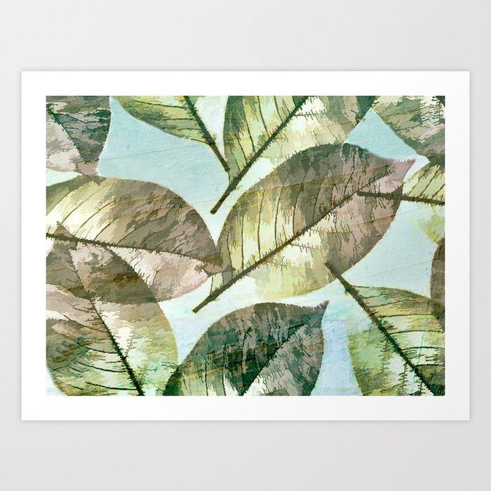 Vintage Leaf Abstract Art Print