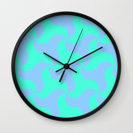 Neon teal shark tooth pattern for the beach Wall Clock