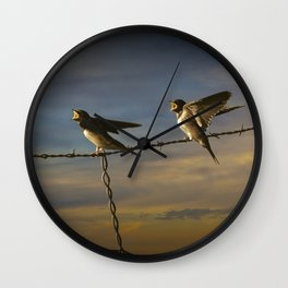 Barn Swallows on Barbwire Fence at Sunset Wall Clock