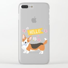A Big Hello From A Well Dressed Corgi Clear iPhone Case
