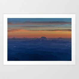 Mountains at sunset Art Print
