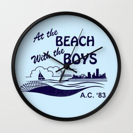 At the Beach with the Boys Wall Clock