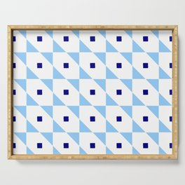 square and tartan 81- blue Serving Tray