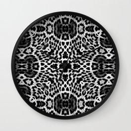abstract animal print grayscale Wall Clock