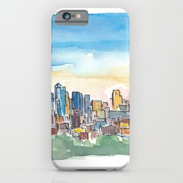 Kansas City Missouri Colorful Impressionistic USA Skyline Painting iPhone Case